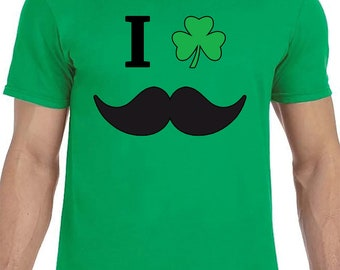 I Shamrock Mustaches Shirt - Irish Shirt - St Patrick's Day shirt - St Paddys day - Irish drinking shirt -green irish shirt