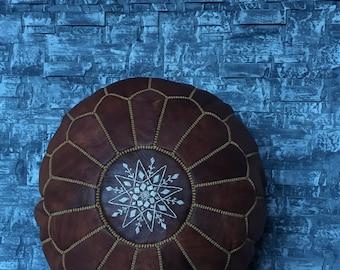 Prmiume handmade Leather Ottoman moroccan Tan pouf