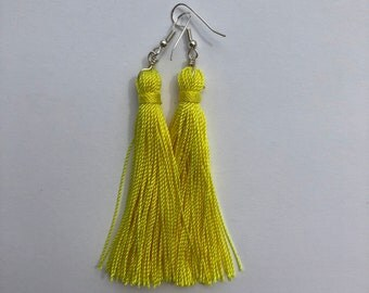 Yellow Tassel Earrings