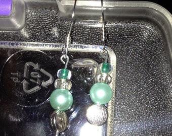 Minty Blue Glass Earrings