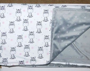 """40"""" by 40"""" Homemade Snuggle Flannel Reversible Baby Blanket"""