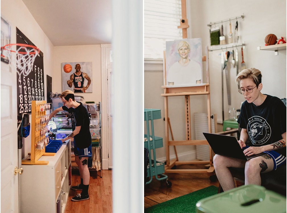 Sam at work in their studio