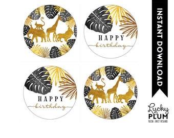 Safari Cupcake Toppers / Safari Round Labels / Jungle Round Labels / Black Gold Animal Jungle Zoo Wild One Boho / *Digital Printable SF02