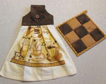 Tea Towel & Matching Pot Holder Set: Brown Mocha