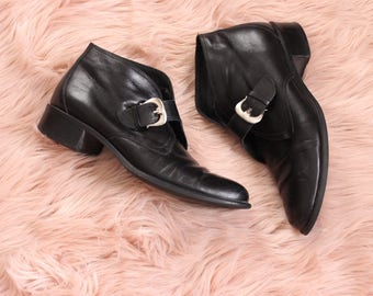 90s vintage Etienne Aigner boots, black leather buckle booties, womens size 7.5 ankle boots 7 1/2