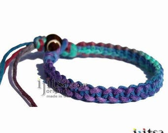 Fancy muted rainbow hemp bracelet or anklet