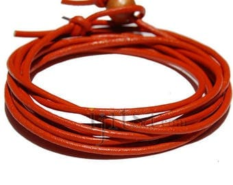 2mm orange leather adjustable surf wrap bracelet