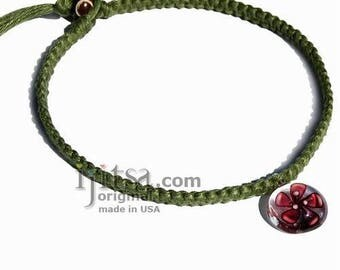 Avocado flat hemp necklace with clear/plum flower glass pendant