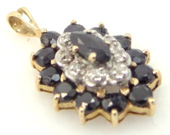 14k Gold Sapphires and Diamonds Pendant