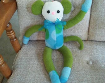 Monkey for baby nursery. Fleece with hypoallergenic stuffing. Safety lock eyes n nose.  Multicolor. Measures 15 long.