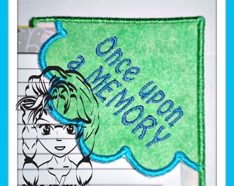 "Corner BOOKMaRK ""ONcE UPoN a MeMORY"", perfect gift 4 any reader ~ In the Hoop ~ Downloadable DiGiTaL Machine Embroidery Design by Carrie"