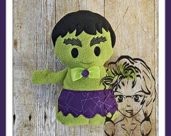 GrEEN MeAN HERO Character Inspired 3D Plush Softie Toy ~ In the Hoop ~ Downloadable DiGiTaL Machine Embroidery Design by Carrie