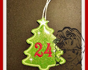 ITH ADVENT Christmas TrEE Ornament Number Set ~ In the Hoop ~ Downloadable DiGiTaL Machine Embroidery Design by Carrie