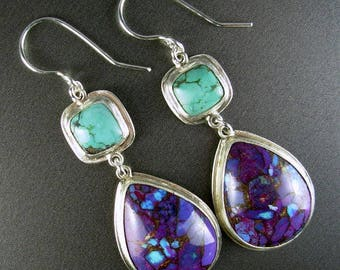 Mojave turquoise kingman mine stone composite, natural turquoise large sterling silver dangle wire earrings Chelle' Rawlsky jewelry OOAK