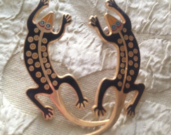 Laurel Burch Black LIZARDO Cloisonne Earrings Vintage Jewelry 1980s Red Teal Gold Lizard