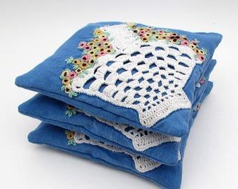 Large Dried Lavender Sachet - Vintage Embroidered Linens - Crochet - Blue Sachet - Flower Basket - drawer - gift for her - stocking stuffer