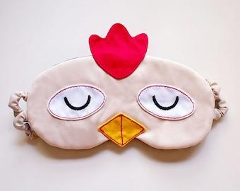 Rooster Sleep Mask, Chicken Sleep Mask, Chicken eyemask, Chicken sleep eye mask, Chicken Mask, White Rooster, Sleeping Mask, Chicken Gifts