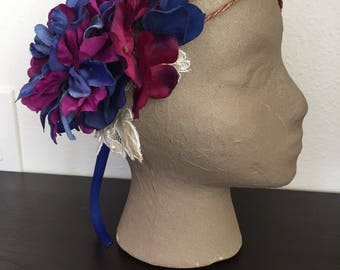 Precious Jewel - Blue and Magenta Asymmetrical Floral Fairy Crown