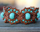 REDUCED Micro-Macrame Beaded Cuff Bracelet - Turquoise and Brown