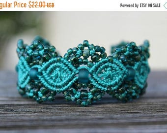 SUMMER SALE Micro-Macrame Beaded Cuff Bracelet - Teal Picasso