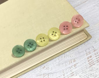Button Stud Earring Set Made With Surgical Steel Posts and Sewing Buttons in Sherbet Colors of Pink Green and Yellow