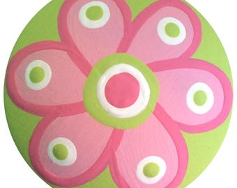 Pink And Apple Green FLOWER Knob Hand Painted Wood Decorative Dresser Nursery Girls Baby Room Kids Knobs Childrens Art Custom Drawer Knob