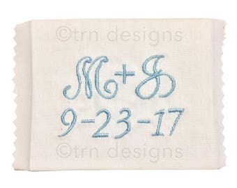 Monogrammed Wedding Dress Label Something Blue Personalized Bride Bridesmaid Gift Boutique Handmade