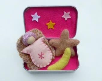 Altoid tin doll play set travel toy quiet play ready to ship