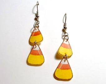 Handcrafted Plastic Candy Corn Halloween Costume Party Earrings Made in USA