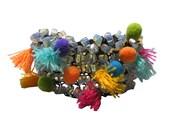 Boho Tassel Pom Pom Bracelet, Bohemian Bracelet, knitted beads bracelet, Moonstone Bracelet, Wide Bracelet, Colorful Pom Pom, Tassel Cuff
