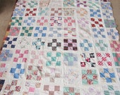 UNfinished Vintage Cotton Fabric Patchwork Squares Quilt Top 70 x 80,Full,Twin