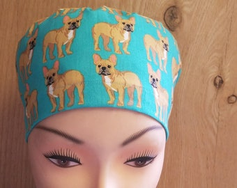 New Bulldog on Turquoise Close Fit Medical Surgical Scrub Hat Vet Nurse Chemo