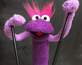 Sock Puppet Creature, Hand and Rod Puppet, Purple Puppet, Pink Hair, Arm Rods, Lots of Personality