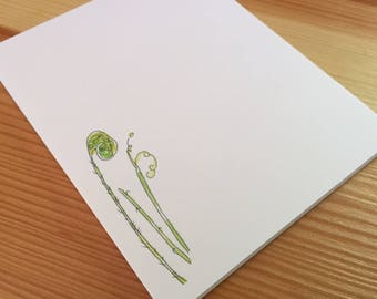 Fiddlehead Fern Notepad - Small Watercolor Fern Notepad - 4 x 5 Handmade Botanical Notepad - Gardener Gift - 40 Sheet Notepad
