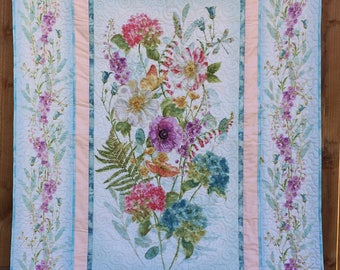 Pastel Floral Lap Quilt, Lightweight sofa throw, Soft and Cozy Blanket, Cottage Chic Home Decor, Blue, pink, green, handmade quilt