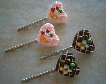 Pair of Bobby Pins in Chocolate or Strawberry Sundae, Bobbi Pins, Hair Accessories, Willow Glass