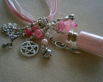 Wicca Goddess Necklace, Pink Pagan Charms Necklace, OOAK, Willow Glass