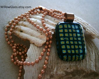 Dichroic Fused Glass Pendant in Checkmate with Copper Chain, Dichroic Glass Jewelry,  Willow Glass