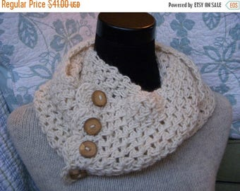 SALE Cream Scarf Ecru Neck Warmer Ivory Alpaca Cowl with 4 Chunky Reclaimed Wood Buttons