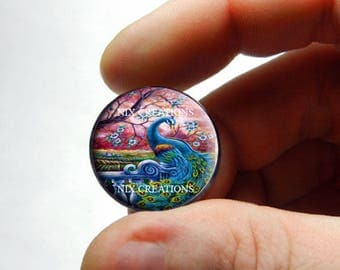 Glass Peacock Cabochon - P1 - for Jewelry and Pendant Making