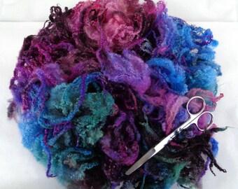 1.8oz, Handpainted Bluefaced Leicester curly fleece, curls, locks, felting wool, dolls hair, wool hair, wool curls, green, blue, purple,50g