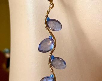 Gold filled Mystic Blue earrings, dangle twig, blue twigs, branch earrings, branch earrings, gift for her, boho earrings, vine earrings