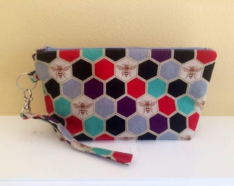 The Essential Zipper Wristlet- Echino Honeycomb Beehive
