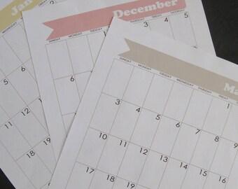 Bullet Journal Printable Calendar - January 2019 through December 2019 - for Moleskine XL