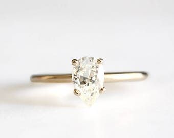 14k gold pear moissanite engagement ring, forever one, eco friendly, handmade, limited stock, alternative diamond, moissanite