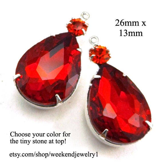 red glass teardrops and orange tiny rhinestones...gorgeous rhinestone earrings or pendants