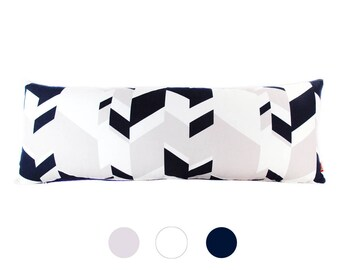 Modern Geometric  Pattern Navy Blue, Light Pink and White Cotton Duck Fabric Rectangle Pillow