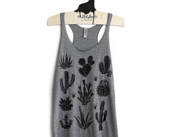 SALE Small -Tri-Blend Heather Gray Racerback Tank with Cactus Screen Print
