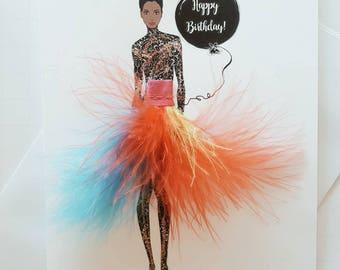 Birthday Card * Fabulous Birthday  Card, Fashion Illustration Card * African American card * Best Friend Card *Birthday Card For Her * Chic