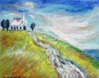 Whimsical White Country church chapel on a hill 10 x 8 original oil painting